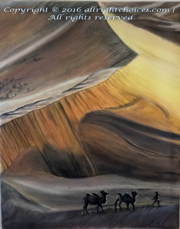 desert sunset camels