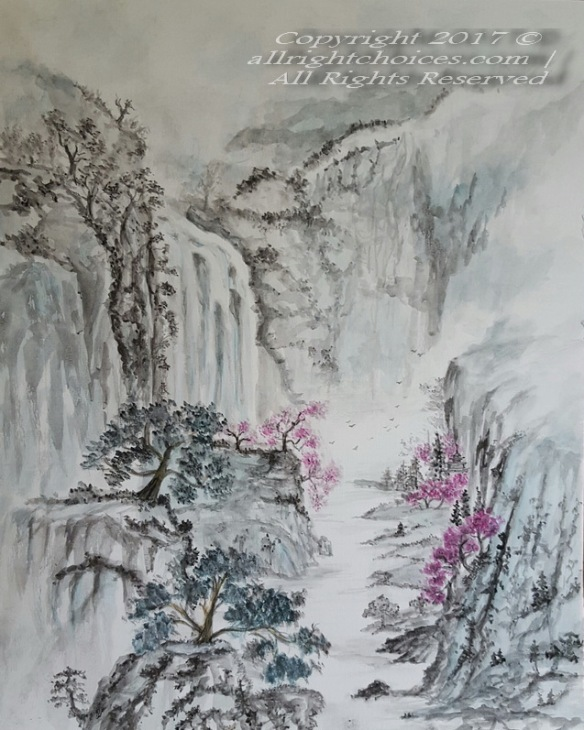 asian landscape aquarelle