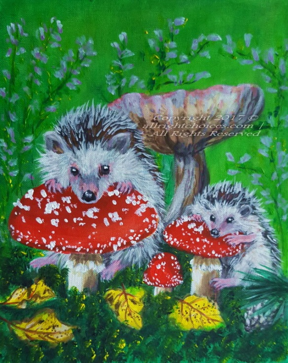 hedgehogs mushrooms autumn
