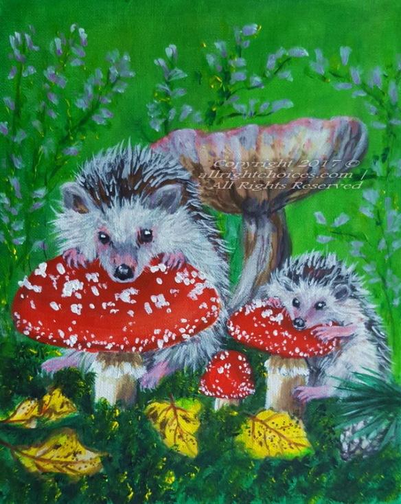 hedgehogs mushrooms autumn