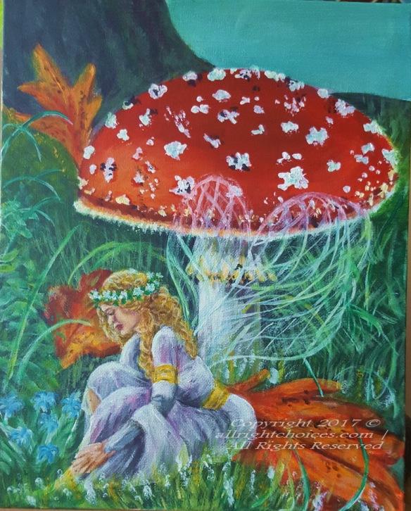 mushroom fairy painting
