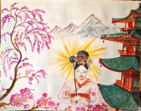 the geisha japan art painting watercolor allrc