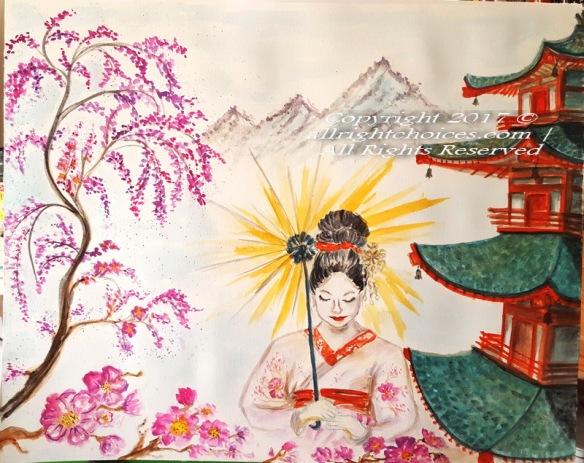 the geisha japan art painting watercolor allrc
