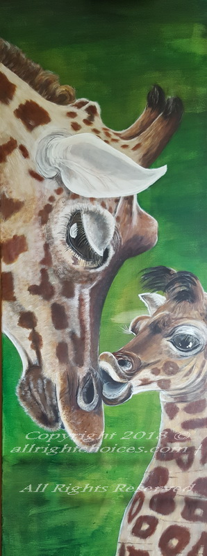 giraffe mama and baby painting allrc
