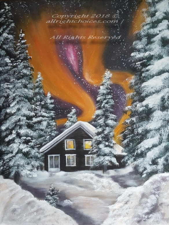 aurora borealis painting cabin snow allrc